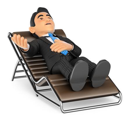 Ilustración de gente de negocios 3d. Empresario acostado en un sofá hablando. Fondo blanco aislado.