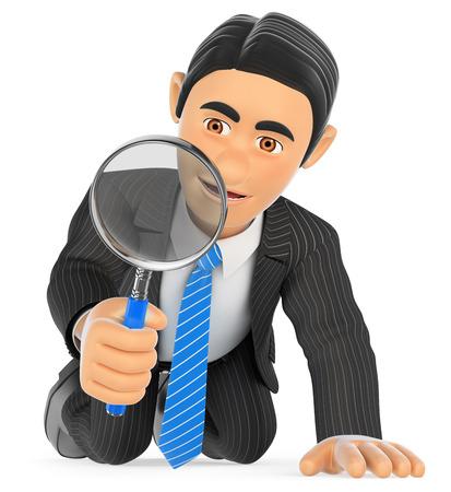 Ilustración de gente de negocios 3d. Empresario de rodillas mirando a través de una lupa. Fondo blanco aislado.