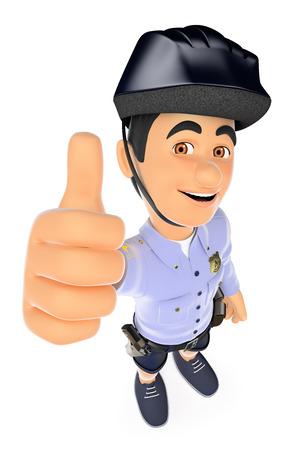 Ilustración de la gente de las fuerzas de seguridad 3d. Policía en pantalones cortos con el pulgar para arriba. Aislado fondo blanco. Foto de archivo