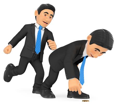 3 d ビジネス人々 の図。うずくまっている人にキックを与える実業家。孤立した白い背景。