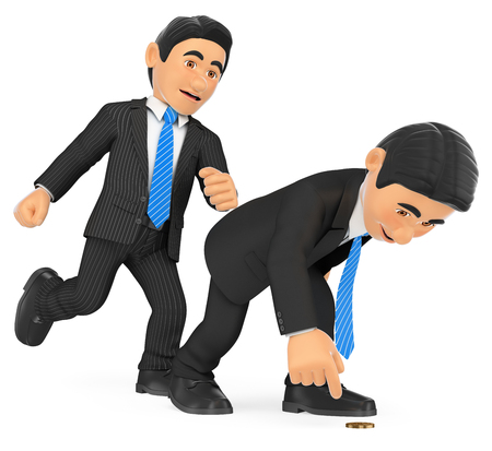 3d business people illustration. Businessman giving a kick in to another who is crouched. Isolated white background. Foto de archivo