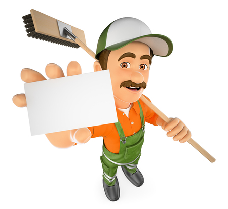 man: 3d working people illustration. Street sweeper with a blank card. Isolated white background. Stock Photo