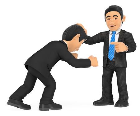 3d gente de negocios ilustración. Hombre de negocios la celebración de la cabeza con la mano a los demás. Superioridad. Aislado fondo blanco.