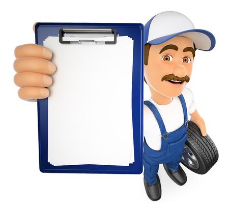 Ilustración de gente trabajadora 3d. Mecánico con un portapapeles en blanco. Fondo blanco aislado.