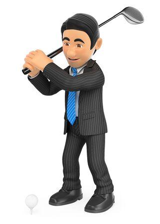 Ilustración de gente de negocios 3d. Empresario jugando al golf. Fondo blanco aislado.