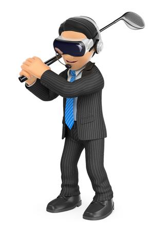 Ilustración de gente de negocios 3d. Empresario jugando al golf con unas gafas de realidad virtual. Fondo blanco aislado. Foto de archivo