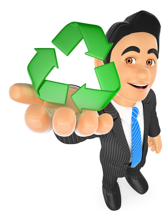 3d business people illustration. Businessman with recycling symbol. Isolated white background.