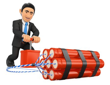 3d gente de negocios ilustración. Hombre de negocios 3D detonar una bomba de dinamita. TNT. Aislado fondo blanco.
