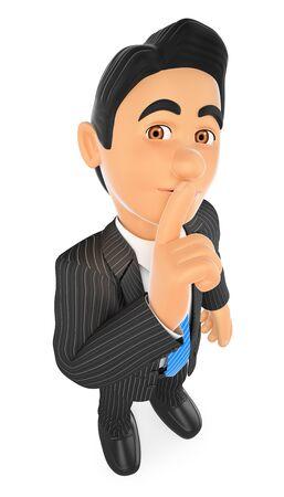 3d gente de negocios ilustración. Hombre de negocios ordenando a callarse con su dedo. Aislado fondo blanco.