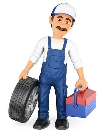 3d personas que trabajan ilustración. Mecánico con un neumático y una caja de herramientas. Aislado fondo blanco. Foto de archivo