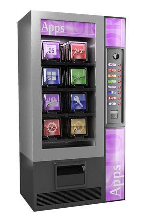 music machine: 3d illustration. 3D App Vending Machine. Isolated white background.