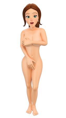 Ilustración de gente joven 3D. Mujer desnuda que oculta pechos y pubis con sus manos. Fondo blanco aislado.