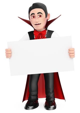 Ilustración de personas de halloween 3D. Monstruo divertido. Vampiro con un cartel en blanco. Víspera de Todos los Santos. Fondo blanco aislado. Foto de archivo