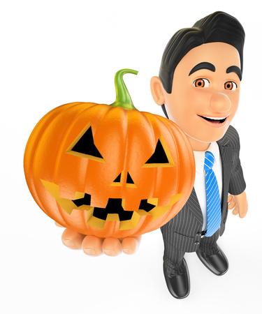 Ilustración de personas de halloween 3D. Hombre de negocios con una gran calabaza. Víspera de Todos los Santos. Fondo blanco aislado. Foto de archivo