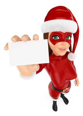 3d christmas people illustration. Woman masked superhero showing a blank card. Isolated white background.