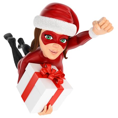 Ilustración de personas de Navidad 3D. Mujer enmascarada superhéroe volando con un regalo. Fondo blanco aislado.