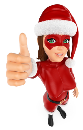 3d christmas people illustration. Woman masked superhero with thumb up. Isolated white background.