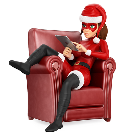 3d 크리스마스 사람들이 그림. 여자는 태블릿와 소파에 앉아 슈퍼 히어로를 마스크. 격리 된 흰색 배경입니다. 스톡 콘텐츠
