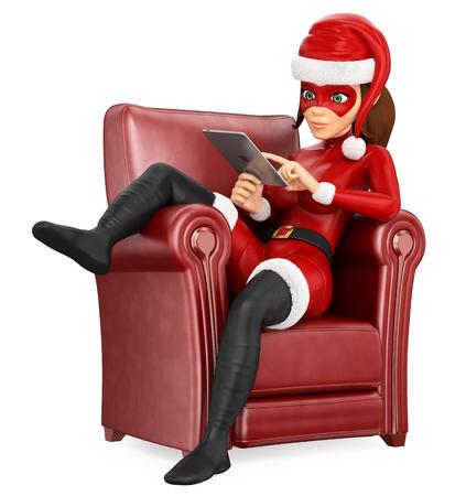 Ilustración de personas de Navidad 3D. Mujer enmascarada superhéroe sentado en un sofá con una tableta. Fondo blanco aislado. Foto de archivo
