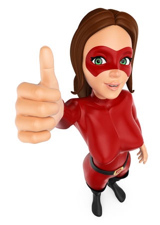 3d security forces people illustration. Woman masked superhero with thumb up. Isolated white background.