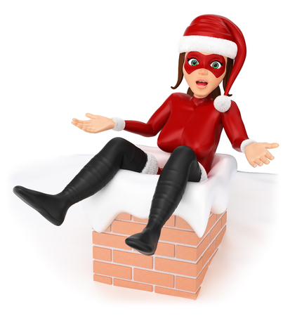 humorous: 3d christmas people illustration. Woman superhero stuck in a chimney. Isolated white background.