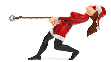 Ilustración de personas de Navidad 3D. Mujer superhéroe tirando de una cuerda. Cartel en blanco Fondo blanco aislado.