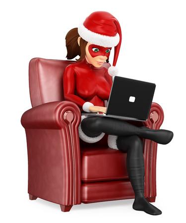 Ilustración de personas de Navidad 3D. Superhéroe de mujer sentada en un sofá con una computadora portátil. Fondo blanco aislado. Foto de archivo