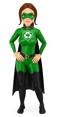 Ilustración de personas de medio ambiente 3d. Superhéroe de la mujer de pie de reciclaje con las manos en la cintura. Fondo blanco aislado.