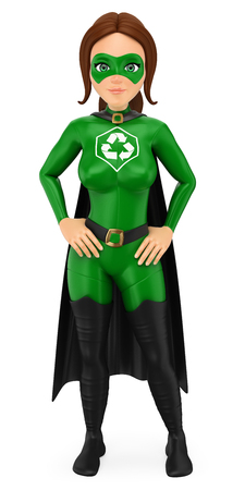 3d environment people illustration. Woman superhero of recycling standing with hands on waist. Isolated white background. Stock Photo