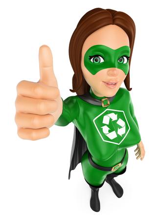 Ilustración de personas de medio ambiente 3d. Mujer superhéroe de reciclaje con pulgar arriba. Fondo blanco aislado. Foto de archivo