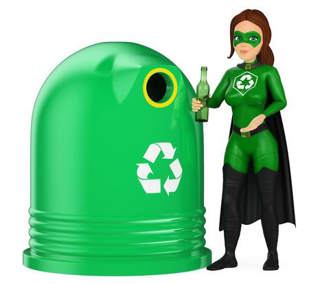 Ilustración de personas de medio ambiente 3d. Mujer superhéroe de reciclaje poniendo una botella de vidrio en un recipiente. Fondo blanco aislado.