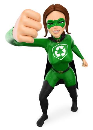 Ilustración de personas de medio ambiente 3d. Superhéroe de mujer de reciclaje dando un fuerte golpe de dibujos animados. Fondo blanco aislado.