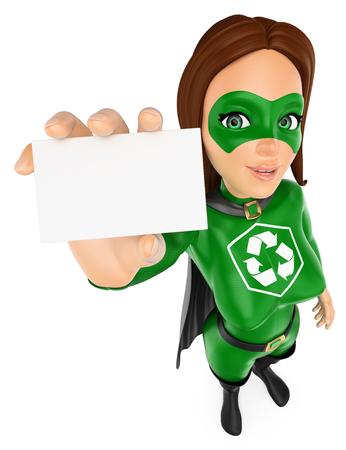 Ilustración de personas de medio ambiente 3d. Superhéroe de mujer de reciclaje que muestra una tarjeta en blanco. Fondo blanco aislado.
