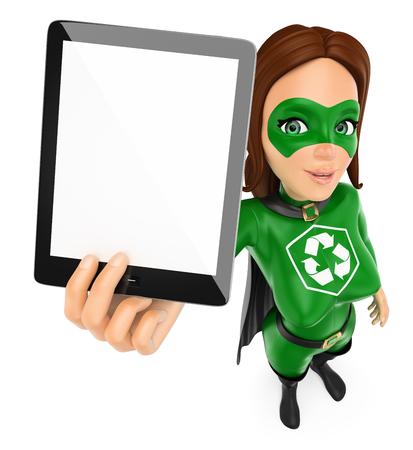 Ilustración de personas de medio ambiente 3d. Superhéroe de la mujer del reciclaje que muestra una tableta con la pantalla en blanco. Fondo blanco aislado.