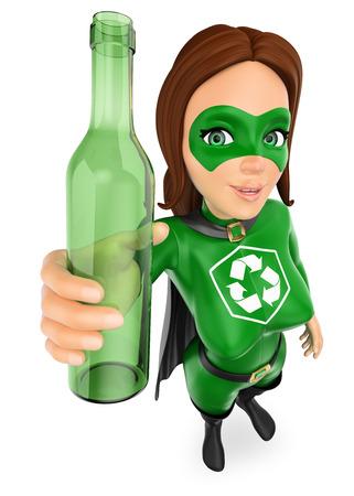 Ilustración de personas de medio ambiente 3d. Mujer superhéroe de reciclaje con una botella de vidrio. Fondo blanco aislado.