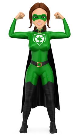 Ilustración de personas de medio ambiente 3d. Mujer superhéroe de reciclaje mostrando sus músculos. Fondo blanco aislado.