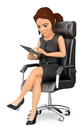 Ilustración de gente de negocios 3d. Empresaria sentado en su oficina trabajando con una tableta. Fondo blanco aislado.