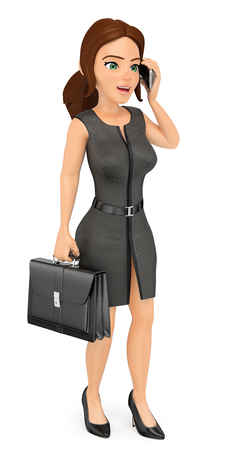 3d business people illustration. Businesswoman with briefcase talking on mobile phone. Isolated white background. Stock Photo