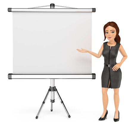 3d business people illustration. Businesswoman with a blank projector screen. Isolated white background. Foto de archivo