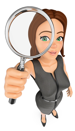 Ilustración de gente de negocios 3d. Empresaria mirando a través de una lupa. Fondo blanco aislado.