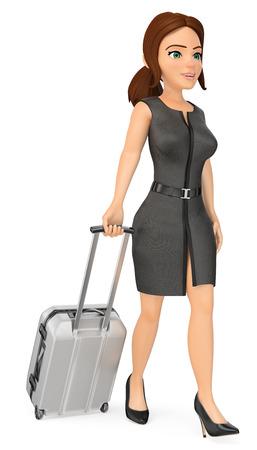 Ilustración de gente de negocios 3d. Empresaria viajando con su maleta. Fondo blanco aislado.
