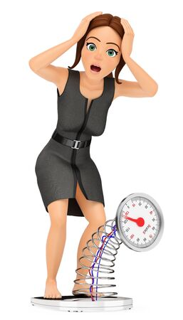 3d business people illustration. Businesswoman weighing herself on a scale. Scared. Isolated white background.