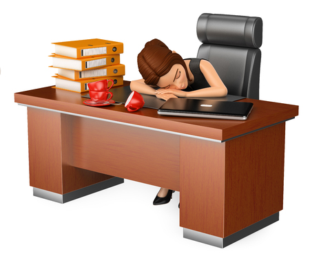 3d business people illustration. Businesswoman sleeping in her office. Long working day. Isolated white background.