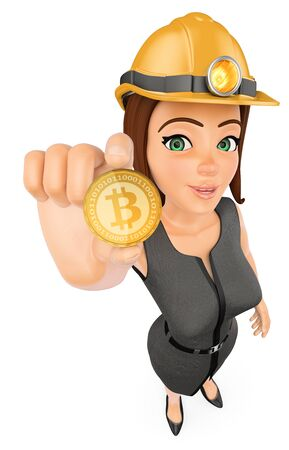 3d business people illustration. Businesswoman with hard helmet mining a cryptocurrency bitcoin. Isolated white background.