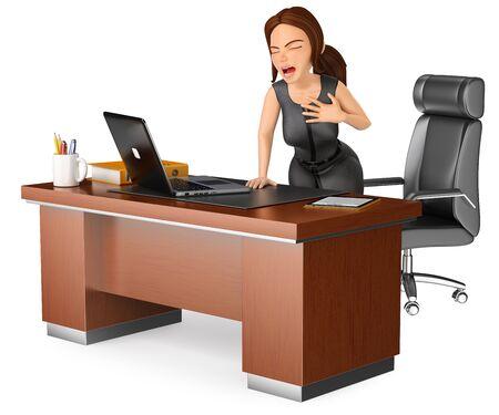 3d 비즈니스 사람들이 그림. 그녀의 사무실에서 심장 마비를 겪고 사업가입니다. 격리 된 흰색 배경입니다. 스톡 콘텐츠