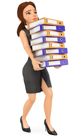 3d business people illustration. Businesswoman loading with many ring binders. Work overload. Isolated white background.