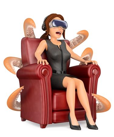 3d 비즈니스 사람들이 그림. 가상 현실 안경 무서운 영화를보고 사업가. 격리 된 흰색 배경입니다. 스톡 콘텐츠