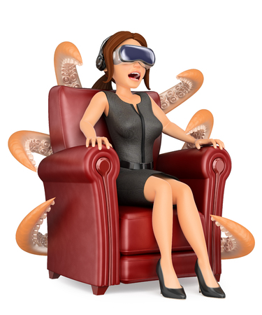 3d business people illustration. Businesswoman watching a scary movie with virtual reality glasses. Isolated white background. Stock Photo