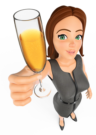 3d business people illustration. Businesswoman toasting with a glass of champagne. Isolated white background. Stock Photo