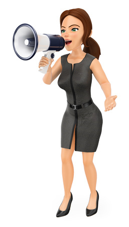 3d business people illustration. Businesswoman talking on a megaphone. Isolated white background. Banque d'images
